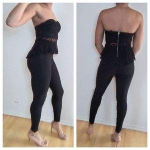 Material girl lace black strapless jumpsuit